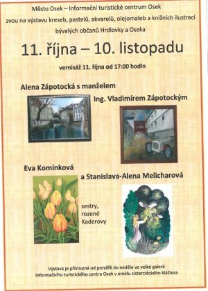 An exhibition of drawings, crayons, watercolors, oil paintings and book illustrations by former citizens of Hrdlovka and Osek